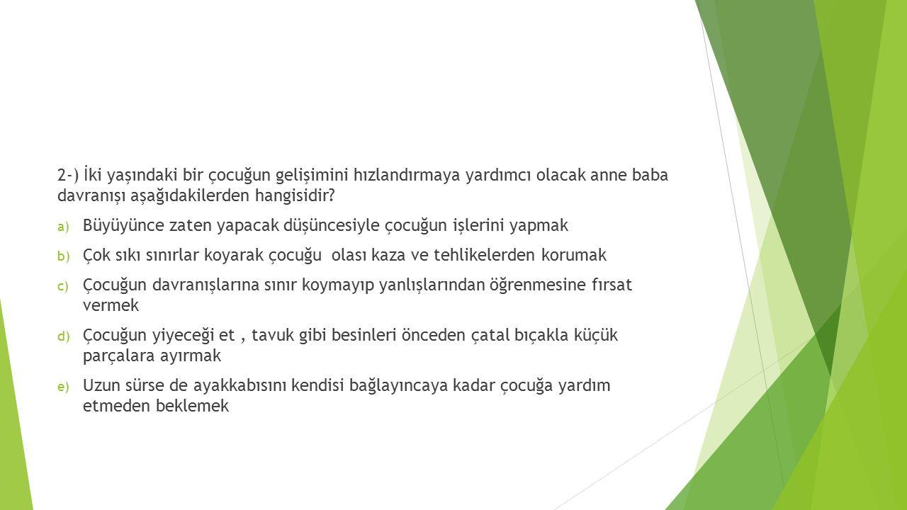 2-) İki yaşındaki bir çocuğun gelişimini hızlandırmaya yardımcı olacak anne baba davranışı aşağıdakilerden hangisidir