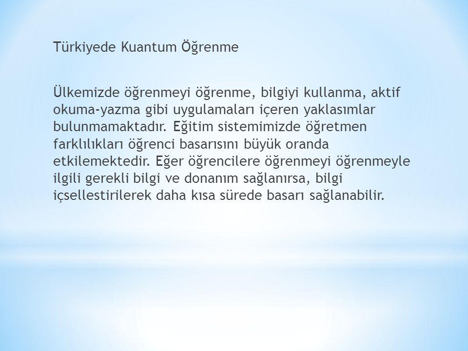 Türkiyede Kuantum Öğrenme Ülkemizde öğrenmeyi öğrenme, bilgiyi kullanma, aktif okuma-yazma gibi uygulamaları içeren yaklasımlar bulunmamaktadır.