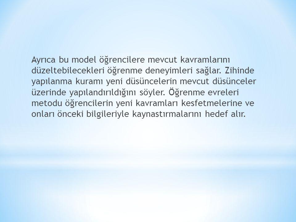 Ayrıca bu model öğrencilere mevcut kavramlarını düzeltebilecekleri öğrenme deneyimleri sağlar.