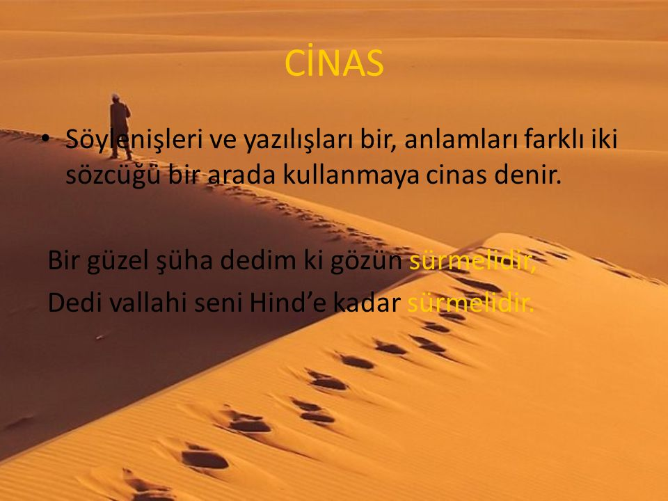 CİNAS Söylenişleri ve yazılışları bir, anlamları farklı iki sözcüğü bir arada kullanmaya cinas denir.
