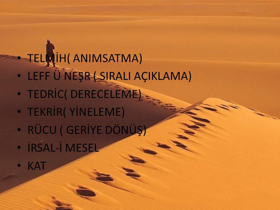 TELMİH( ANIMSATMA) LEFF Ü NEŞR ( SIRALI AÇIKLAMA) TEDRİC( DERECELEME) TEKRİR( YİNELEME) RÜCU ( GERİYE DÖNÜŞ)