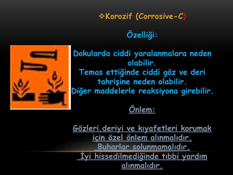 Korozif (Corrosive-C) Özelliği:
