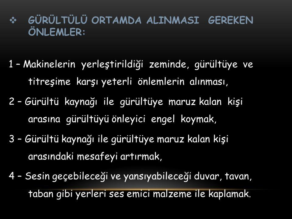 GÜRÜLTÜLÜ ORTAMDA ALINMASI GEREKEN ÖNLEMLER: