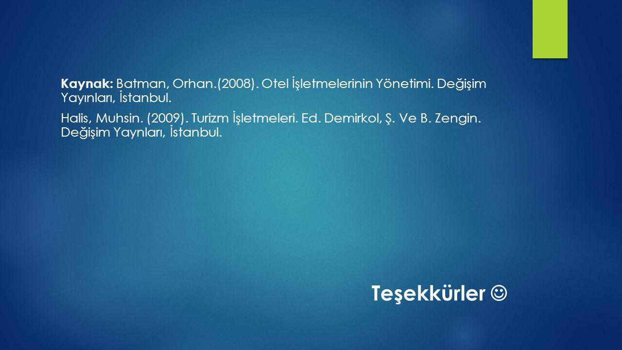 Kaynak: Batman, Orhan. (2008). Otel İşletmelerinin Yönetimi