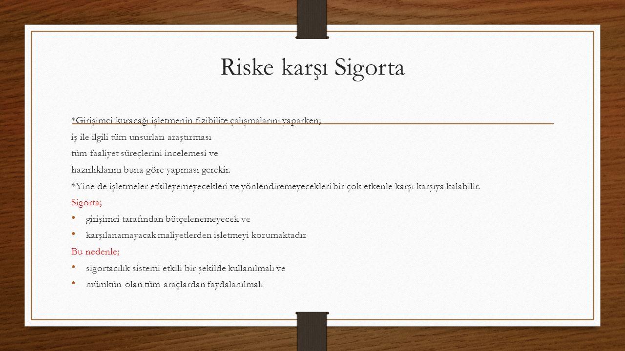 Riske karşı Sigorta *Girişimci kuracağı işletmenin fizibilite çalışmalarını yaparken; iş ile ilgili tüm unsurları araştırması.