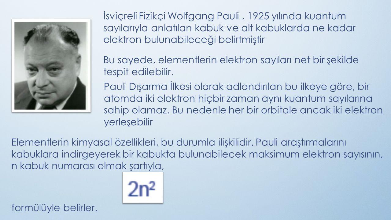 İsviçreli Fizikçi Wolfgang Pauli , 1925 yılında kuantum sayılarıyla anlatılan kabuk ve alt kabuklarda ne kadar elektron bulunabileceği belirtmiştir