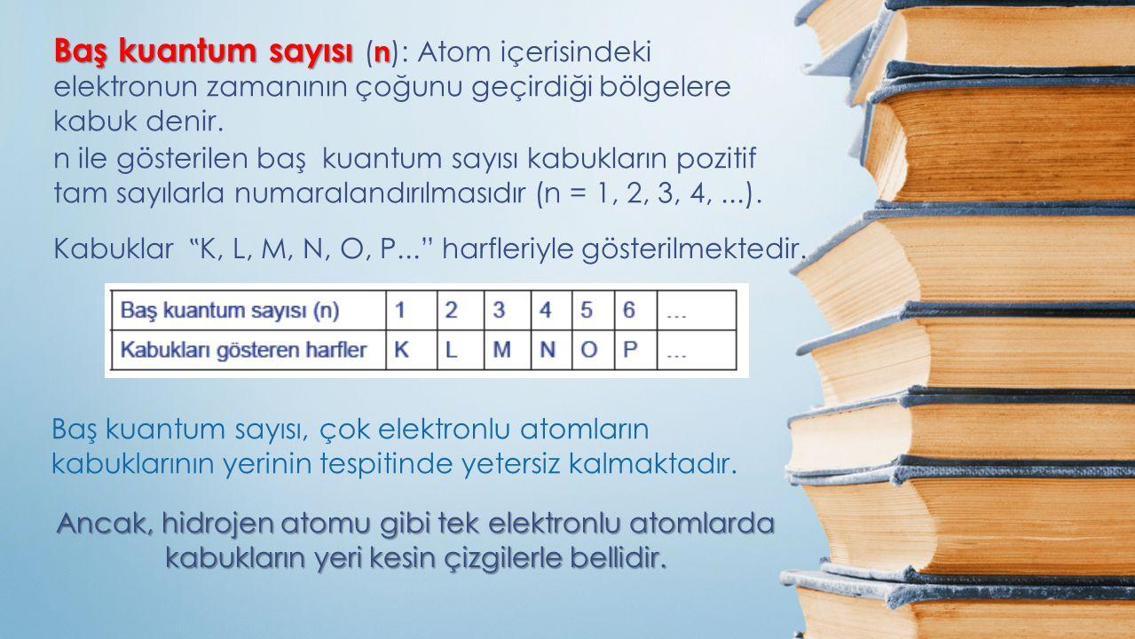 Baş kuantum sayısı (n): Atom içerisindeki elektronun zamanının çoğunu geçirdiği bölgelere kabuk denir.