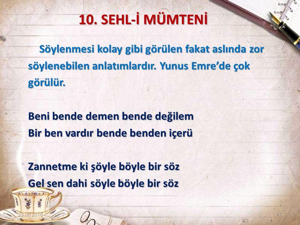 10. SEHL-İ MÜMTENİ