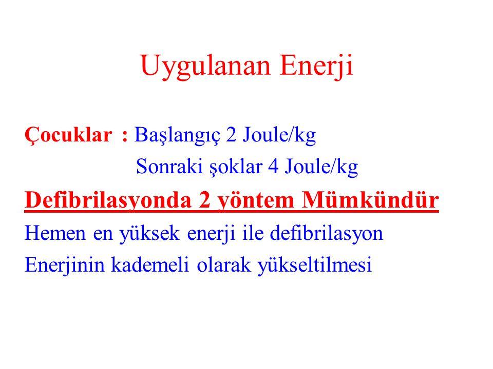 Uygulanan Enerji Defibrilasyonda 2 yöntem Mümkündür