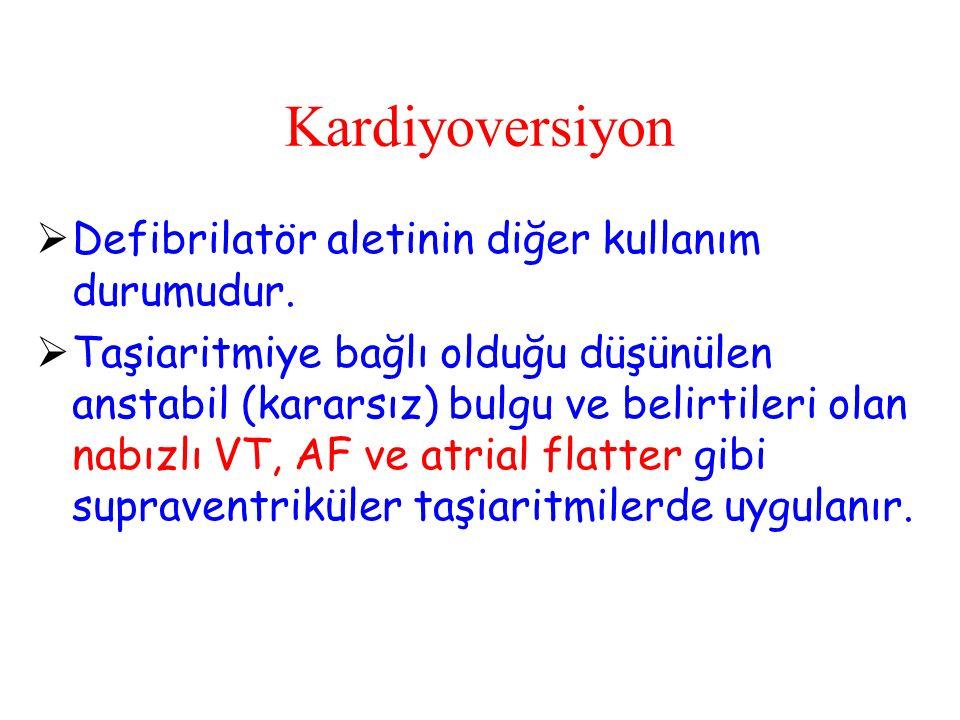 Kardiyoversiyon Defibrilatör aletinin diğer kullanım durumudur.