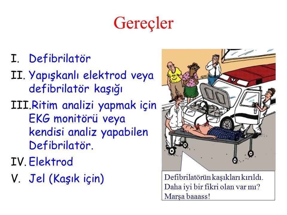 Gereçler Defibrilatör Yapışkanlı elektrod veya defibrilatör kaşığı