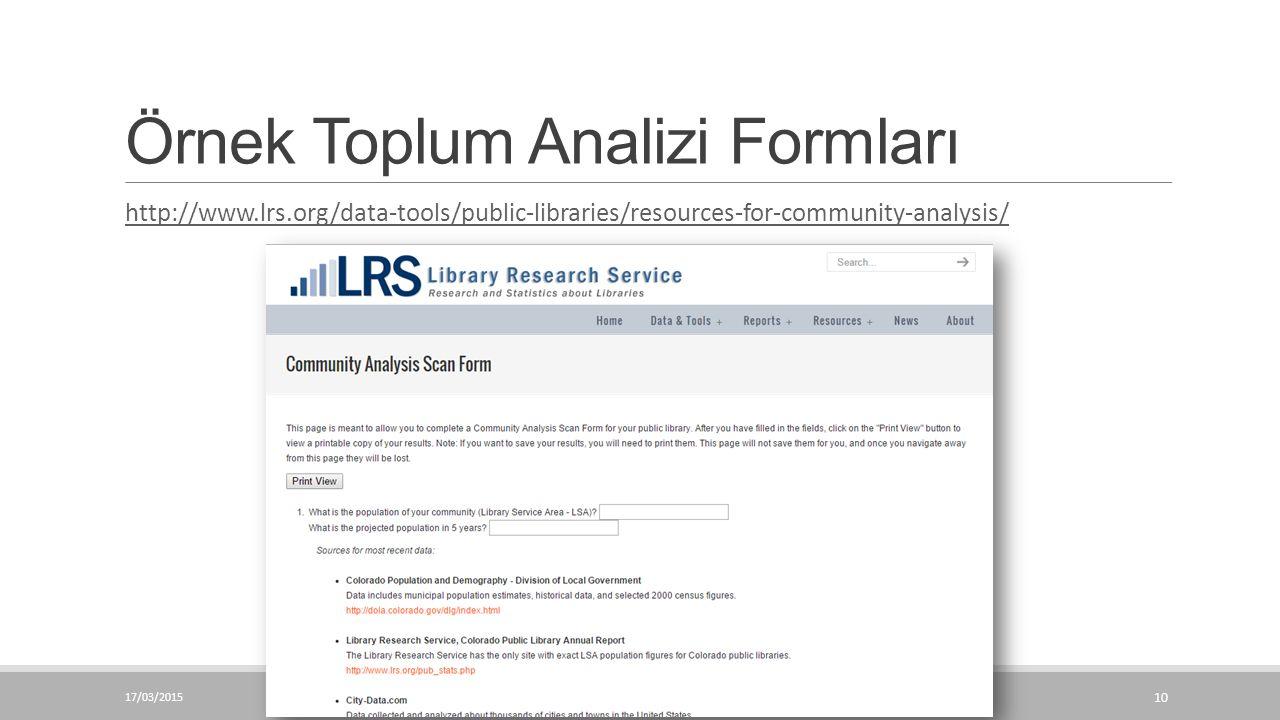 Örnek Toplum Analizi Formları