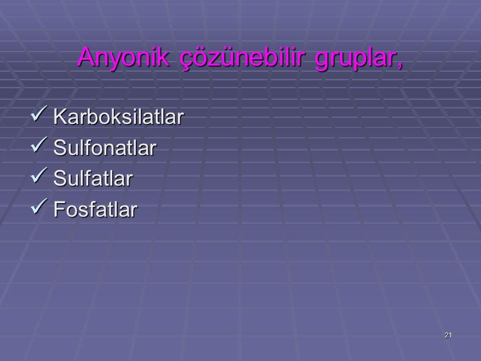 Anyonik çözünebilir gruplar,