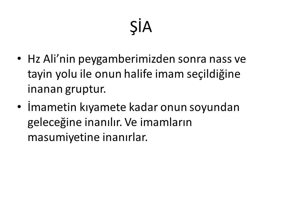 ŞİA Hz Ali'nin peygamberimizden sonra nass ve tayin yolu ile onun halife imam seçildiğine inanan gruptur.
