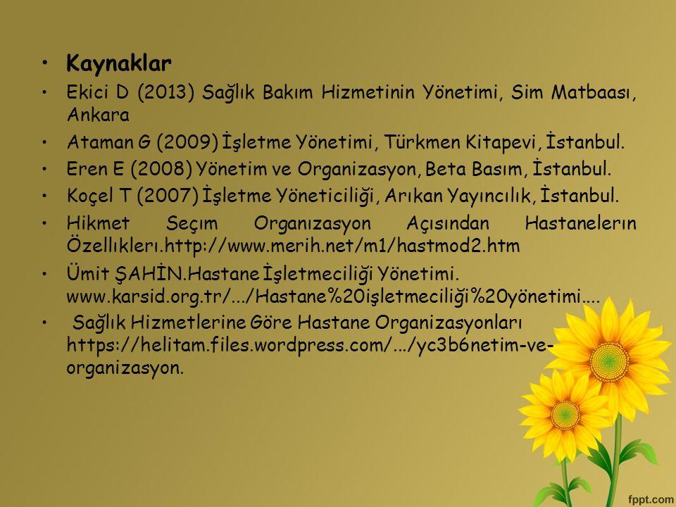 Kaynaklar Ekici D (2013) Sağlık Bakım Hizmetinin Yönetimi, Sim Matbaası, Ankara. Ataman G (2009) İşletme Yönetimi, Türkmen Kitapevi, İstanbul.