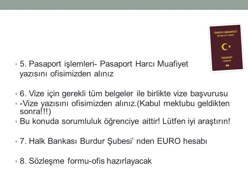 5. Pasaport işlemleri- Pasaport Harcı Muafiyet