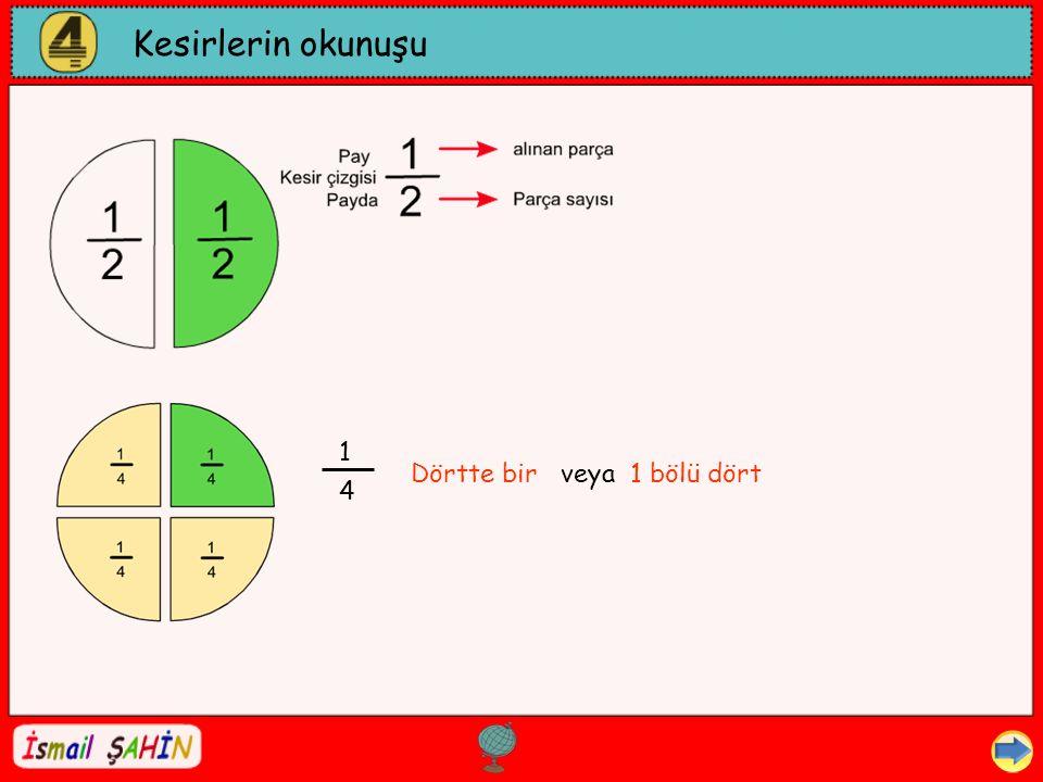 Kesirlerin okunuşu 1 Dörtte bir veya 1 bölü dört 4 Dil ve Dilbilgisi