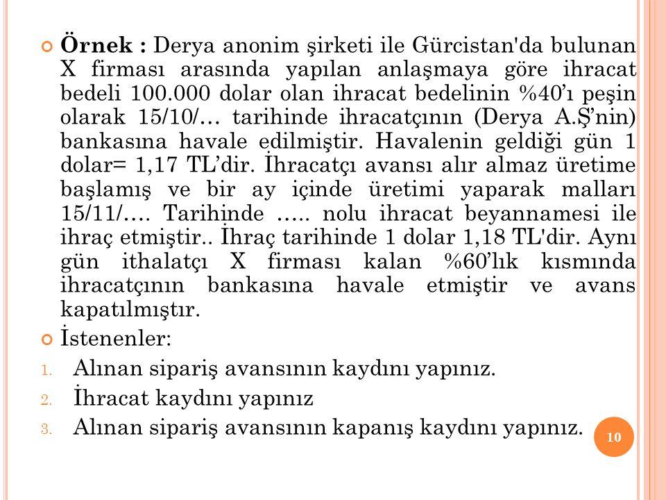 Örnek : Derya anonim şirketi ile Gürcistan da bulunan X firması arasında yapılan anlaşmaya göre ihracat bedeli 100.000 dolar olan ihracat bedelinin %40'ı peşin olarak 15/10/… tarihinde ihracatçının (Derya A.Ş'nin) bankasına havale edilmiştir. Havalenin geldiği gün 1 dolar= 1,17 TL'dir. İhracatçı avansı alır almaz üretime başlamış ve bir ay içinde üretimi yaparak malları 15/11/…. Tarihinde ….. nolu ihracat beyannamesi ile ihraç etmiştir.. İhraç tarihinde 1 dolar 1,18 TL dir. Aynı gün ithalatçı X firması kalan %60'lık kısmında ihracatçının bankasına havale etmiştir ve avans kapatılmıştır.