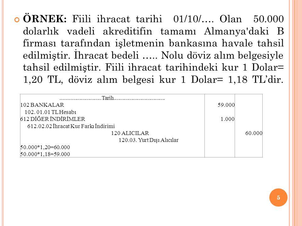 ÖRNEK: Fiili ihracat tarihi 01/10/…. Olan 50
