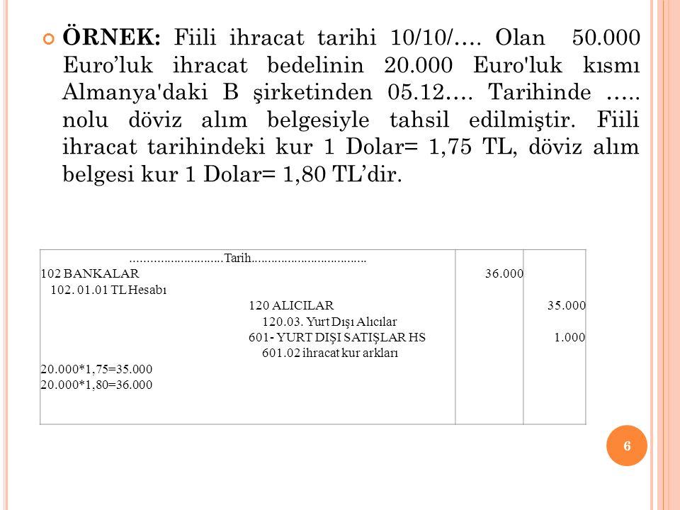 ÖRNEK: Fiili ihracat tarihi 10/10/…. Olan 50