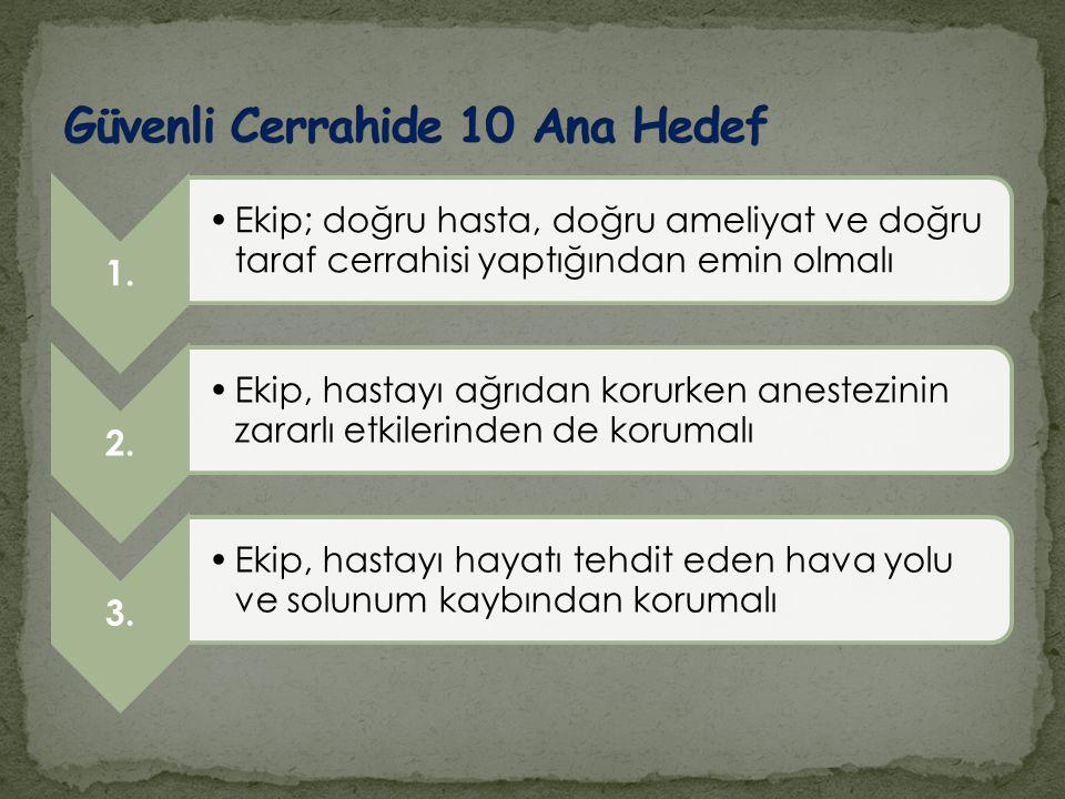 Güvenli Cerrahide 10 Ana Hedef