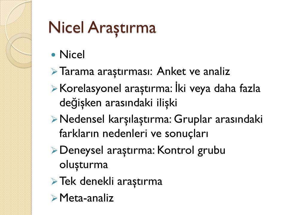 Nicel Araştırma Nicel Tarama araştırması: Anket ve analiz