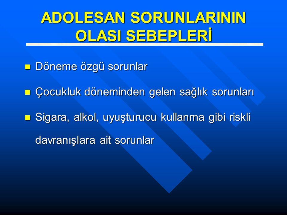 ADOLESAN SORUNLARININ OLASI SEBEPLERİ