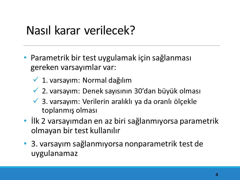 Nasıl karar verilecek Parametrik bir test uygulamak için sağlanması gereken varsayımlar var: 1. varsayım: Normal dağılım.