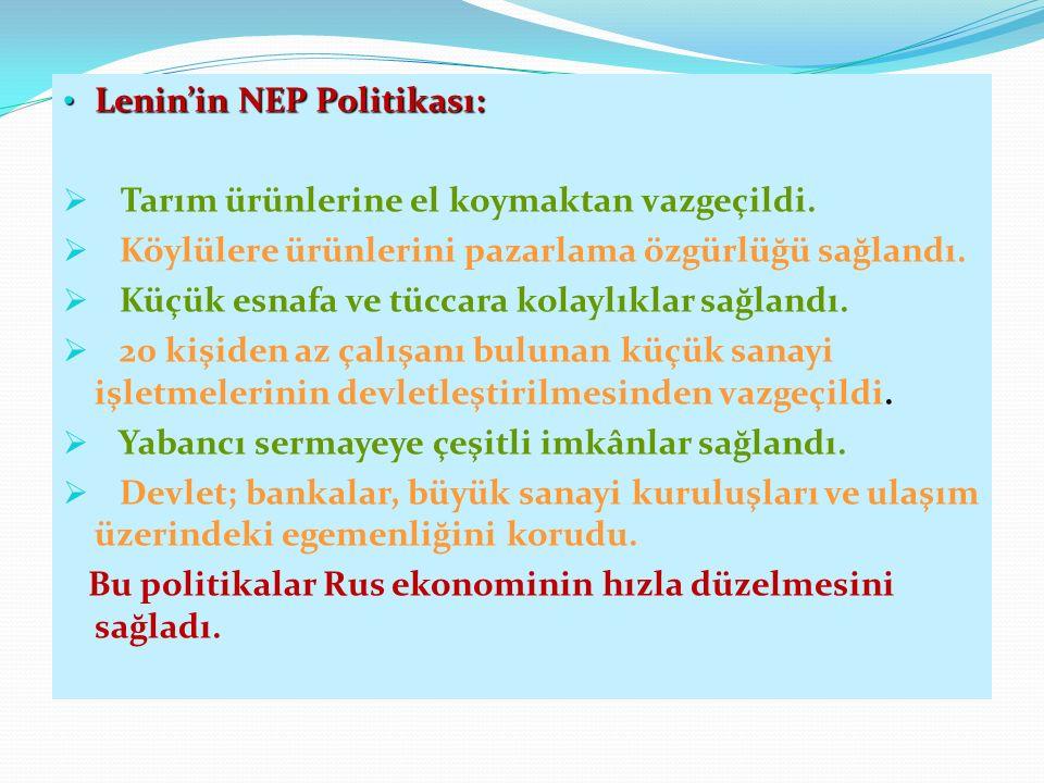 Lenin'in NEP Politikası: