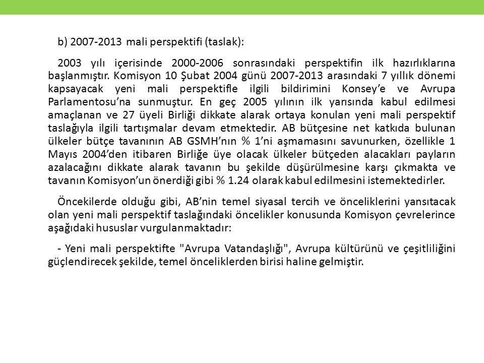 b) 2007-2013 mali perspektifi (taslak): 2003 yılı içerisinde 2000-2006 sonrasındaki perspektifin ilk hazırlıklarına başlanmıştır.