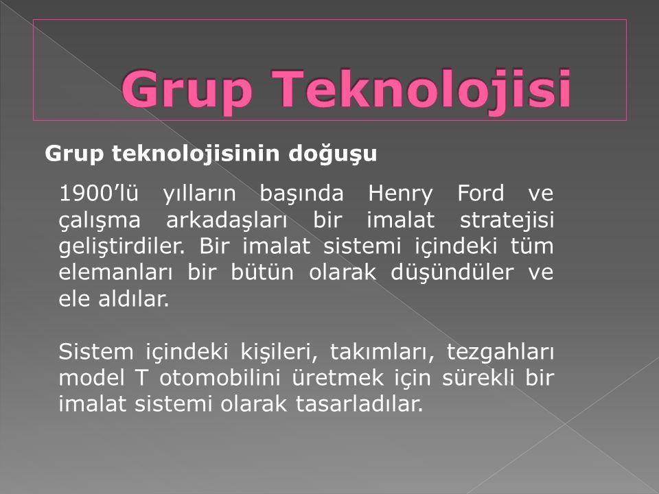 Grup Teknolojisi Grup teknolojisinin doğuşu