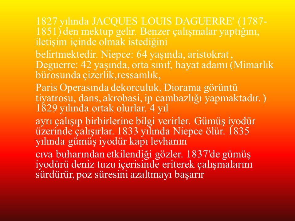 1827 yılında JACQUES LOUIS DAGUERRE (1787-1851) den mektup gelir