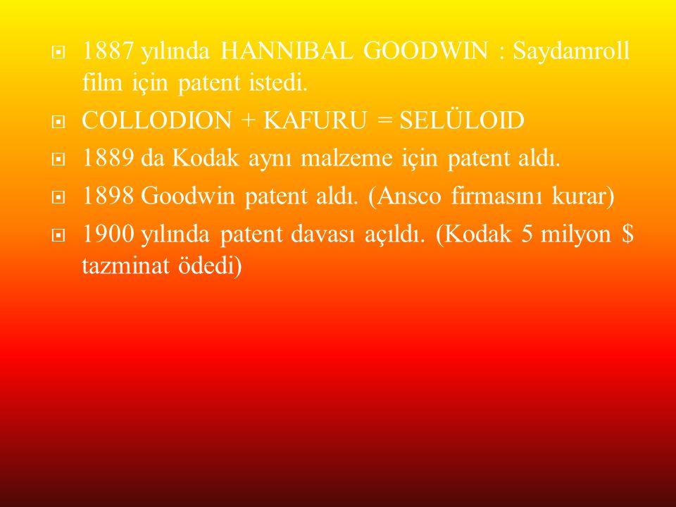 1887 yılında HANNIBAL GOODWIN : Saydamroll film için patent istedi.