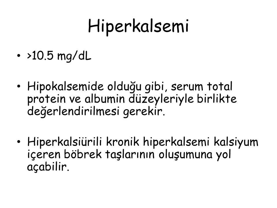 Hiperkalsemi >10.5 mg/dL