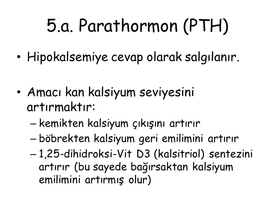 5.a. Parathormon (PTH) Hipokalsemiye cevap olarak salgılanır.