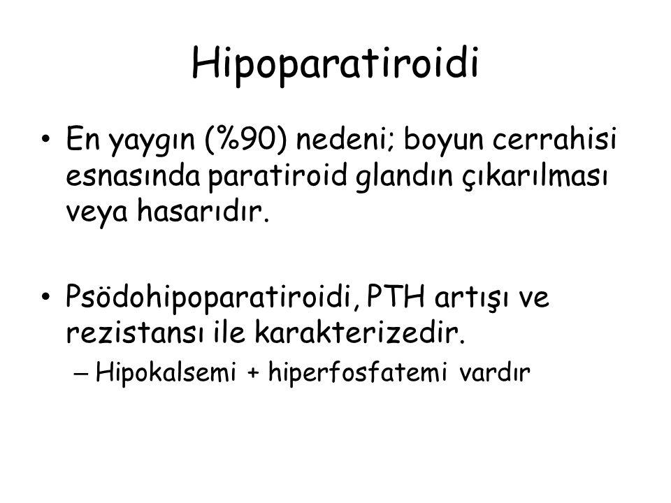 Hipoparatiroidi En yaygın (%90) nedeni; boyun cerrahisi esnasında paratiroid glandın çıkarılması veya hasarıdır.