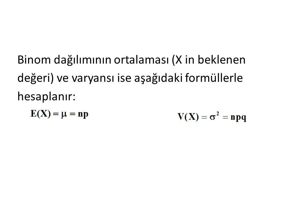 Binom dağılımının ortalaması (X in beklenen değeri) ve varyansı ise aşağıdaki formüllerle hesaplanır: