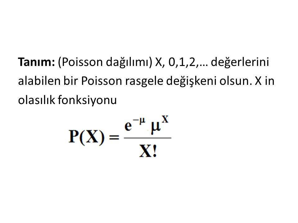 Tanım: (Poisson dağılımı) X, 0,1,2,… değerlerini alabilen bir Poisson rasgele değişkeni olsun.