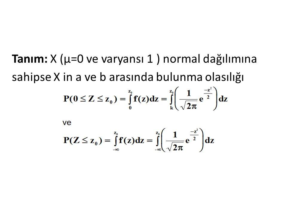 Tanım: X (μ=0 ve varyansı 1 ) normal dağılımına sahipse X in a ve b arasında bulunma olasılığı