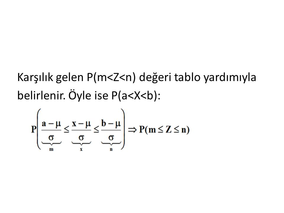 Karşılık gelen P(m<Z<n) değeri tablo yardımıyla belirlenir