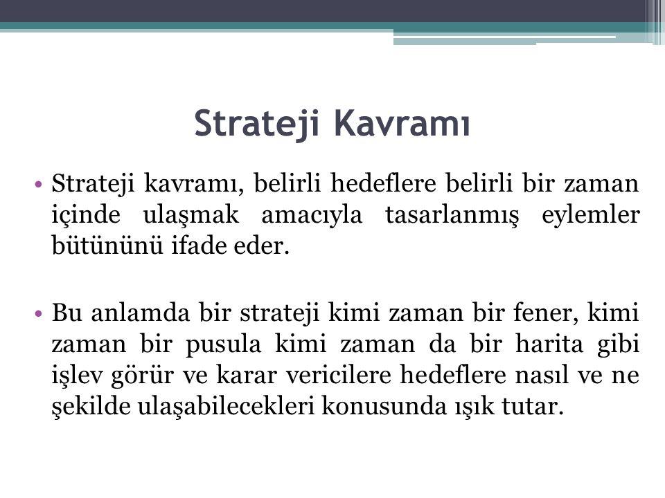 Strateji Kavramı Strateji kavramı, belirli hedeflere belirli bir zaman içinde ulaşmak amacıyla tasarlanmış eylemler bütününü ifade eder.