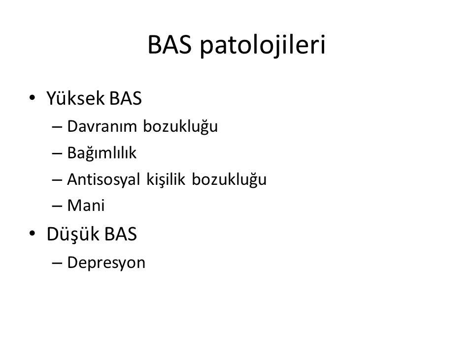 BAS patolojileri Yüksek BAS Düşük BAS Davranım bozukluğu Bağımlılık