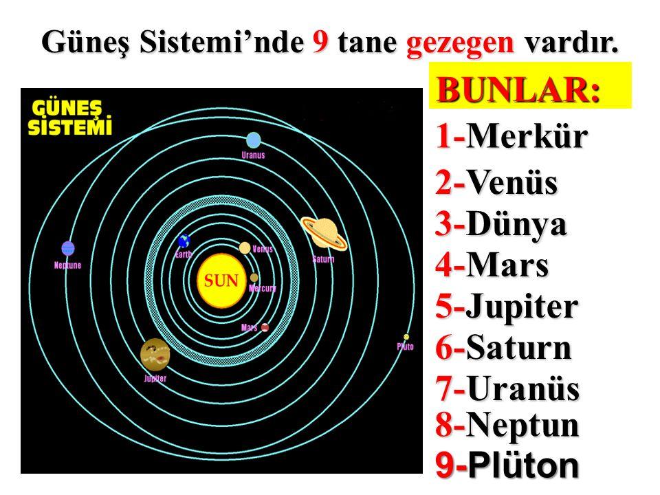 Güneş Sistemi'nde 9 tane gezegen vardır.