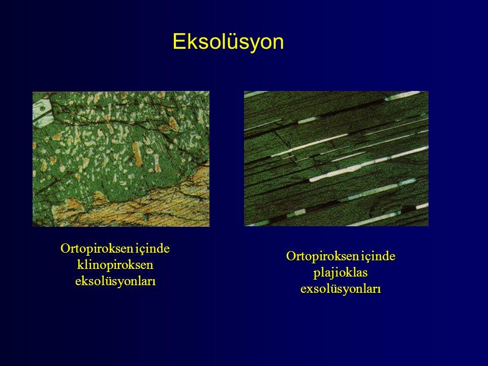 Eksolüsyon Ortopiroksen içinde klinopiroksen eksolüsyonları