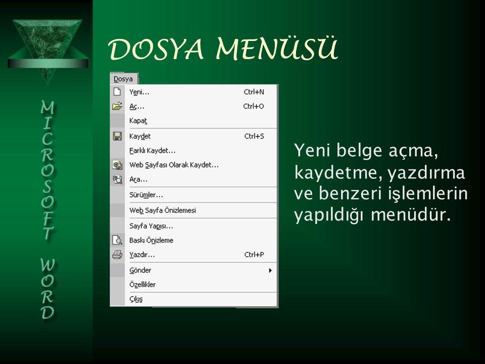 DOSYA MENÜSÜ Yeni belge açma, kaydetme, yazdırma ve benzeri işlemlerin yapıldığı menüdür.