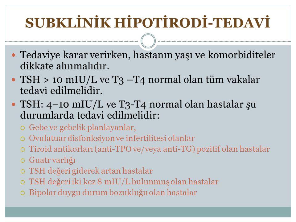 SUBKLİNİK HİPOTİRODİ-TEDAVİ