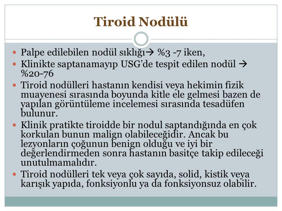 Tiroid Nodülü Palpe edilebilen nodül sıklığı %3 -7 iken,