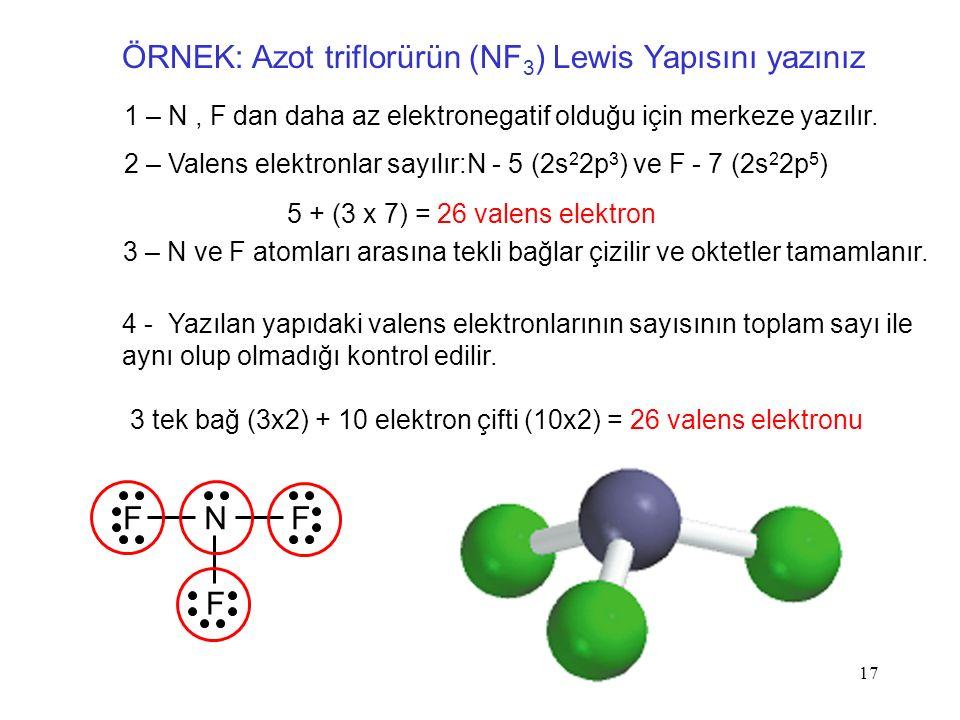 ÖRNEK: Azot triflorürün (NF3) Lewis Yapısını yazınız