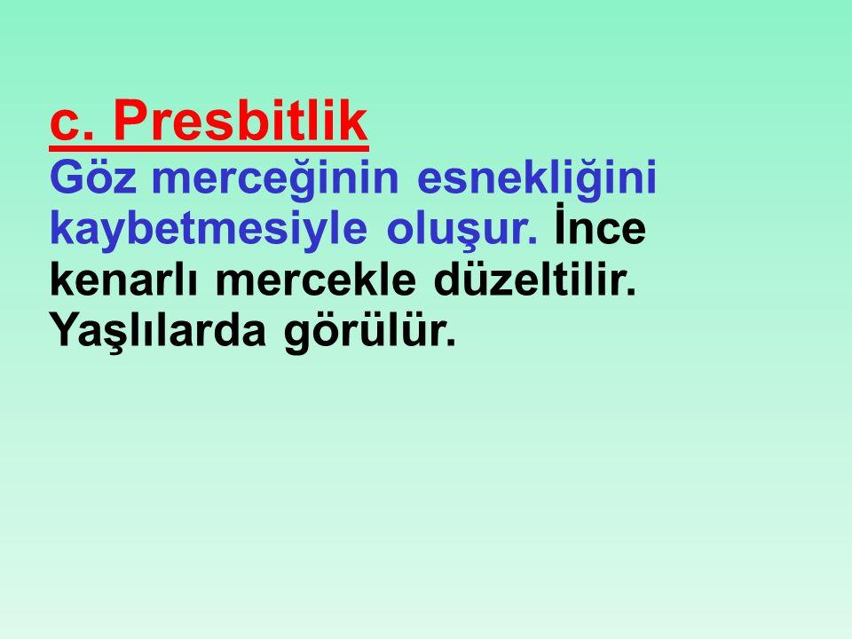 c. Presbitlik Göz merceğinin esnekliğini kaybetmesiyle oluşur.