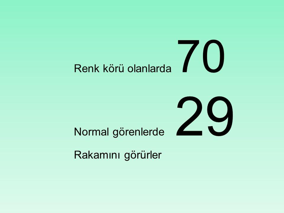 Renk körü olanlarda 70 Normal görenlerde 29 Rakamını görürler